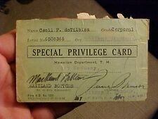 ORIGINAL PRE WWII 1930s FORT DeRUSSY HAWAII SPECIAL PRIVILEGE CARD - 16TH C.A.