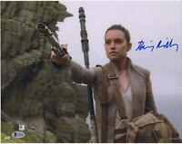 "Daisy Ridley The Force Awakens Signed 12"" x 18"" Holding Light Saber Photo - BAS"