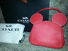 COACH X DISNEY Red MICKEY MOUSE Purse KISSLOCK BAG Satchel LIMITED EDITION New