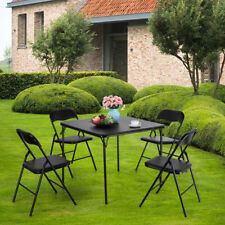 5pc Series Folding Card Table and Chair Set, 4 PVC material Chairs,Black