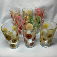 VINTAGE SET of 8, 12 oz daisy DRINKING GLASSES w mark yellow orange green red