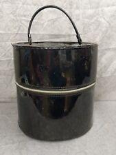 Vintage Hat Box Round Zippered carry on Luggage train case black retro vinyl old
