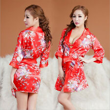 1 Satz Floral Design Schlafanzug Orientalisch Kimono BH Slip Gürtel Nachtwäsche