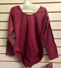 Eurotard 10408 Burgundy Child Size Intermediate (6-7) Cotton Long Sleeve Leotard