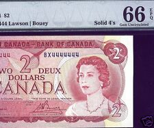 SOILID 4444444 RadaR 1974 $2  Bank Of Canada $2  PMG 66