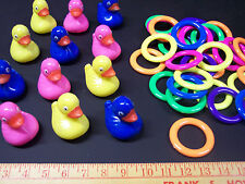 6 PLASTIC FLOATING PICK A DUCKS POND GAME & 6 RINGS TOSS CARNIVAL PARTY SCHOOL