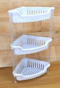 3 Tier Plastic Shower Caddy Corner Shelf Bathroom Organiser Storage Rack White