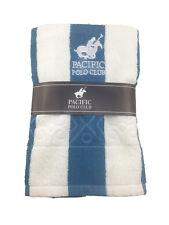 Pacific Polo Club Blue White Strip 30X60 Cabana Pool Beach Towel
