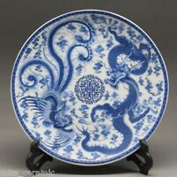 "8"" Chinese Blue and white Porcelain painted dragon phoenixPlate Qianlong Mark"