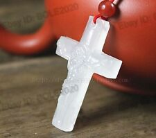 Natural White Jade Carved Jesus Cross Lucky Amulet Pendants + free Rope Necklace
