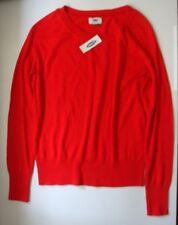 Old Navy M Red Cotton Polyester Long Sleeve $25 Crew Neck Sweater