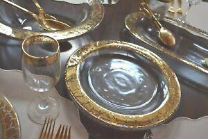 """Crackled Gold Rimmed Crystal DINNER PLATES  w/ flat top lip SET 4 10-5/8"""" d"""
