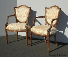 Pair of Vintage Highly Carved French Country Accent Chairs ~ Shield Back