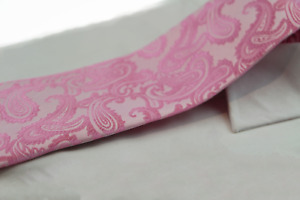 Mens Baby Pink & Pink Paisley Patterned Neck Tie