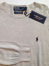 NWT $98 Polo Ralph Lauren Grey L 100% Pima Crewneck Pullover Sweater Blue Pony