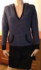 J.JILL Blue Black Hooded Sweater Pullover Wool Blend Woman's L Petite Pocket