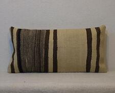 12 x 24 organic wool un dyed sheep wool lumbar pillow cover kilim pillow cover