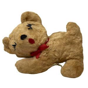 "Vintage Gund Sleeping Puppy Dog Plush Stuffed Animal 8"" Tan Red Bow Eyelashes"
