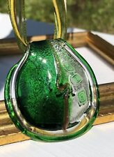 Vintage Murano Green Wide Leaf Art Glass Silver Foil Pendant Necklace