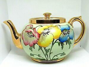 Vintage Gibsons Staffordshire Teapot Hand Painted Gilded Magnolia Flower