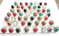 MIX GEMSTONE WHOLESALE LOT 50PCS 925 STERLING SILVER OVERLAY MOST POPULAR  RING