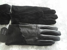 PRIMARK LEATHER & SUEDE GLOVES M/L BLACK NEW GIFT