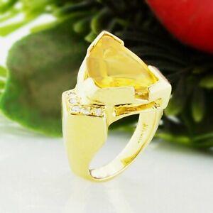14k Yellow Gold Mid Century Modern Large Citrine & Diamond Ring Size 5
