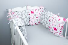PILLOW BUMPER made form 6 cushions for cot/ cot  bed BUTTERFLIES PINK HEARTS