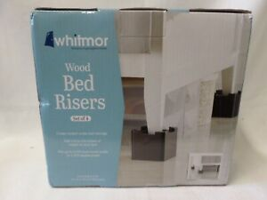 Whitmore Wood Bed Risers Set of 4 Adds 2.8-3.6 Inches Height to Your Bed New