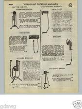1932 PAPER AD 4 PG Stewart Horse Sheep Clipping Shearing Machine Hand Power
