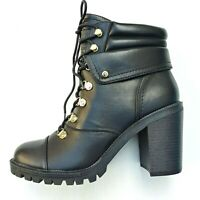 G by Guess JOLLYN Womens Size 10M Black Faux Leather Lace Up Ankle Combat Boots