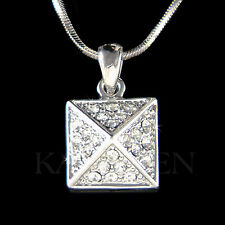 w Swarovski Crystal ~Modern Square Pyramid~ Jewelry Charm Pendant Chain Necklace