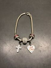 "Heavy Sterling Silver Bracelet w/ Heart Charms Silver Cross ""I Am Loved"""