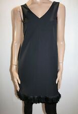 Piper Brand Black Tassel Trim Hem VNeck Sleeveless Shift Dress Size 6 BNWT #TP51