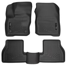HUSKY BLACK WEATHERBEATER FRONT & BACK FLOOR LINERS 16-18 Ford Focus (Exc. RS)