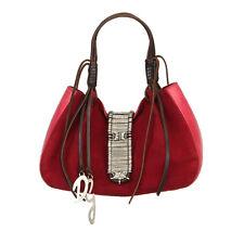 28649 auth D&G DOLCE & GABBANA burgundy suede & brown leather Shoulder Bag