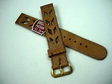 "Binson Tan Pigskin Gold Tone Buckle 16mm 5/8"" Mens Vintage Watch Band New Old St"
