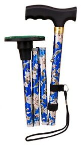 """ACCLAIM Bowlers 33""""-37"""" Blue Floral Metal Folding Green Protector Walking Stick"""
