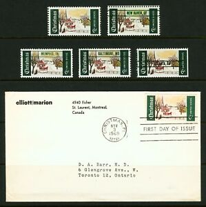 #1384 6c 1969 Christmas Issue EFO Color Shifts, Missing Color Errors Lot