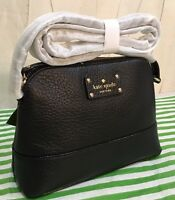 Authentic Kate Spade Bay Street Hanna Black Pebbled Leather Crossbody Bag New