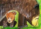 """ACEO ANIMAL ART PAINTING """"PROTECTIVE MAMA BEAR"""" SIGNED ORIGINAL G. BELL"""
