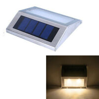 LED Solar Powered Stainless Steel Stair Step Light  Outdoor Wall Lamp Waterproof