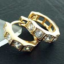Earrings Huggie Hoops Real 18k Yellow G/F Gold Solid Diamond Simulated Design