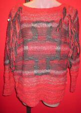 RALPH LAUREN DENIM & SUPPLY Vtg Indian Design Wool Blend Fringed Sweater Sz S P