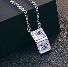 Silber Zirkonia Halskette 45cm Kette Anhänger aus 925 Sterlingsilber + Beutel