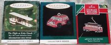 3 Hallmark Mini Ornaments Santa's Streetcar & Flight At Kitty Hawk & On The Road