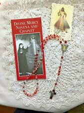 DIVINE MERCY HAND-MADE CHAPLET/Rosary  6mm 1/2 red/clear beads, D.M. Center NEW