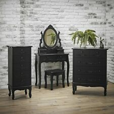 Shabby Chic Dressing Table Set New Black or White Stool and Mirror