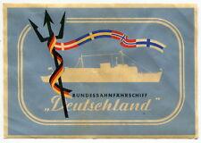 """Old Sticker - German Ship: Bundesbahnfahrschiff """"Deutschland"""""""