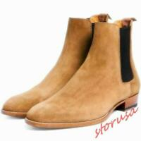 British Mens Suede Leather Pull On Pointy Toe Chelsea Ankle Boots High Top Shoes